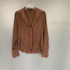 Sandra Angelozzi Tie Front Blouse Brown Size 32